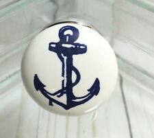 Blue & White Nautical Anchor Ceramic Drawer Pull Knob ~ Cabinet Dresser