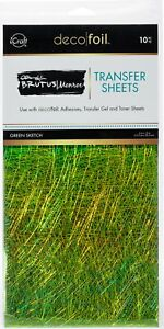 "Brutus Monroe Deco Foil Transfer Sheets 6""X12"" 10/Pkg-Green Sketch."