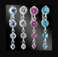 Reverse Top Drop CRYSTAL DANGLE BELLY BAR - Choose: 8mm 10mm 12mm 14mm 16mm