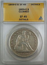1859-O Seated Liberty Silver Dollar, ANACS EF-45 Details, Cleaned Coin