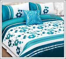 280TC White Turquoise Flora Embroidery Pintuck * 3pc Queen QUILT DOONA COVER SET