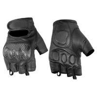 Mens Fingerless Leather Gloves - Carbon Fiber Kev Knuckle Protection Bikers