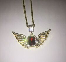 Red Ruby Iced Out Diamond 14k Gold Chain UK SELLER