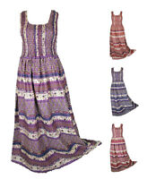 100% Cotton Long Boho Maxi Dress Sleeveless Evening Size 14 16 18 20 22 24 FEB