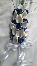 ROYAL BLUE & WHITE ARTIFICIAL FLOWERS FOR BRIDE / BRIDESMAIDS WEDDING BOUQUET