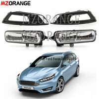 For Ford Focus 2015-2018 Front Bumper Fog Light Lamps Chrome Cover Grills Bulbs