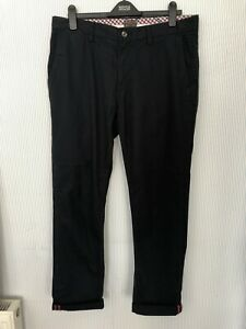 Ben Sherman Navy Blue Selvedge Chinos Trousers 36/32