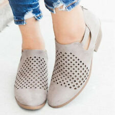 Women Midi Block Heel Pure Plain Ankle Boots Hollowing Out Toe Zipper Back Shoes