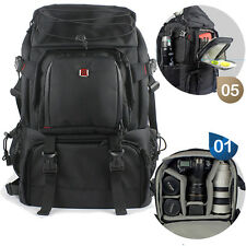 Large Black DSLR SLR Camera Lens Backpack Rucksack For Canon Nikon Laptop Bag