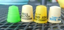 FOUR VINTAGE PLASTIC SEWING THIMBLES 3 ARE POLITICAL