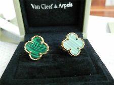 Authentic VAN CLEEF & ARPELS Alhambra 18k Yellow Gold Malachite Magic Earrings*