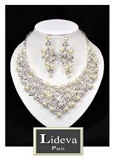 Luxus Set Halskette XL Ohrringe Kette Schmuckset Hochzeit Perlen Kristall Paris