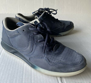 Ecco Leather Suede Lace up Comfort Shoes Size 38 Navy Blue