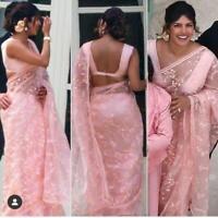 Saree Indian Bollywood Designer Sari TISHUE ORGANZA Pakistani Wear Blouse Weddi