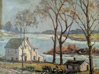 Original Earl W. North (1904-1989) Painting Listed Ohio Artist MAUMEE RIVER