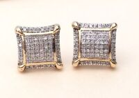 1.10 Cttw Round Cut Diamond Cubs Stud Earrings 14K Yellow Gold Finish for Womans