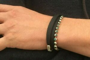 Leather Black Bracelet W Turquoise Stone Inlaid on Sterling Silver Chain, Unisex