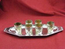 Service à Liqueur en Argent Massif 6 Verres et Plateau Silver Silber Roses