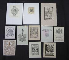 38)Nr.167- EXLIBRIS- verschiedene Künstler, Heraldik,  Konvolut 11 Blätter