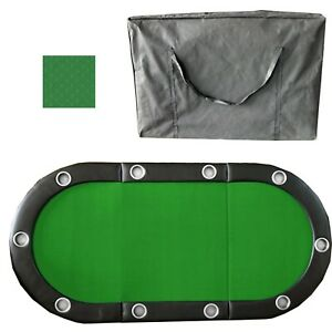 """79"""" x 36"""" GREEN Folding Poker Card Game Table Top Cup Chip Holder for 10 Player"""
