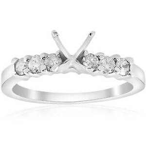 1/2ct Diamond Engagement Semi Mounting Ring Setting 14K White Gold