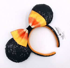 Disneyland Minnie Ears Sequins Bow Halloween Candy Corn Disney Parks Headband