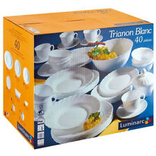LUMINARC Trianon White  40 pcs Dinner set ARCOROC  Microwave Dishwasher safe