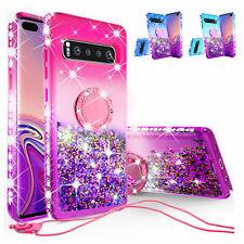 Samsung Galaxy S10 Plus Case Glitter Liquid Rhinestone Bling Ring S10+Cover
