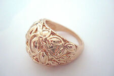 Gold Tone Random Leaves Pattern Style Statement Ring Size S