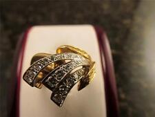 Vintage 18k Solid Gold Diamond Flair Cocktail Ring 1970's Circa 10 Grams Sz 8.75