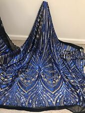 "BLACK/ROYAL/GOLD EMBROIDERY SEQUINS BEIDAL LACE FABRIC 50"" WiIDE 1 YARD"