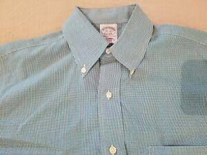 Mens Brooks Brothers Dress Shirt 14 1/2 32 Green Button Cotton 14.5