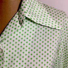 Vintage Womens Blouse Top 8 White Green Polka Dots Wide Collar Jackfin New York