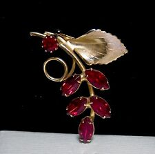 Vintage Sparkly Ruby Red Prong Set Rhinestone Grape Cluster Brooch Pin