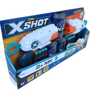 Zuru X-Shot 2x MK3 Foam Dart Blaster Combo Pack 24m range w/ 16 Darts & 3 Cans