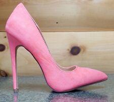 """Liliana Neon Coral FX Suede Single Sole Pointy Toe Pump 5"""" Heel Shoe 7-11"""