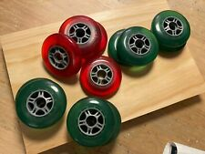 Inline rollerblade wheels - Translucent red and green - set of 12 in total