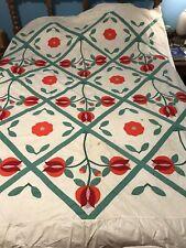 Antique Tulip Applique Handmade Quilt Top