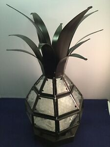 Pineapple Hurricane Candle Holder Lamp Tropical Design Globe Glass Metal 12""