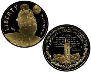 APOLLO 8 SPASE MISSION 50TH ANNIVERSARY COMMEMORATIVE S COIN PROOF $99.95