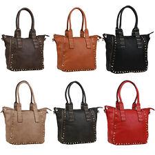 Damen Taschen Shopper Nieten Zipper Schultertaschen Handtasche Handyfach 834196