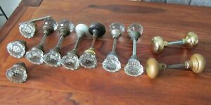 LOT OF ANTIQUE GLASS AND BRASS DOORKNOB SETS