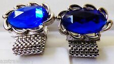 VTG SWANK LARGE SILVER TONE METAL MESH OVAL SAPPHIRE BLUE COLOR STONE CUFF LINKS