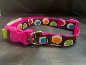 Pink Groovy Dot Collar for a Large Dog
