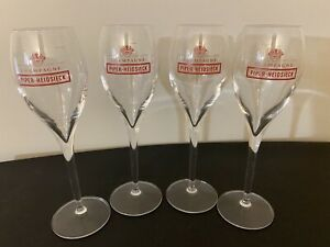 """4 Piper- Heidsieck champagne  Flutes, 8"""""""