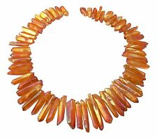 😏 Bergkristall Perlen Spitzen Nuggets orange-rot irisierend Edelsteinperlen 😉