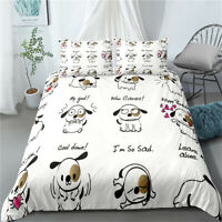 Single/Double/Queen/King Size Bed Doona/Duvet/Quilt Cover Set Linen Dog White