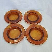 Vintage 60s Glass Ashtrays Mini Circle Set of 4 Amber 4 inch Mid Century