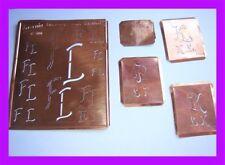 5 Monogramm Schablone - Kupfer - um 1920 - F.L.- L.F. - LK. - K.L. - A.H.