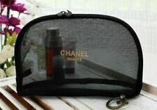 NIP Medium Chanel Mesh Black Cosmetic Makeup Pouch Case Bag FreeShipTrack